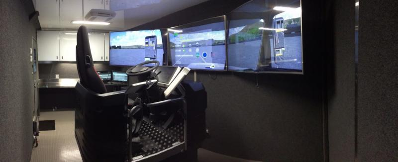 Inside view of trailer with truck simulator