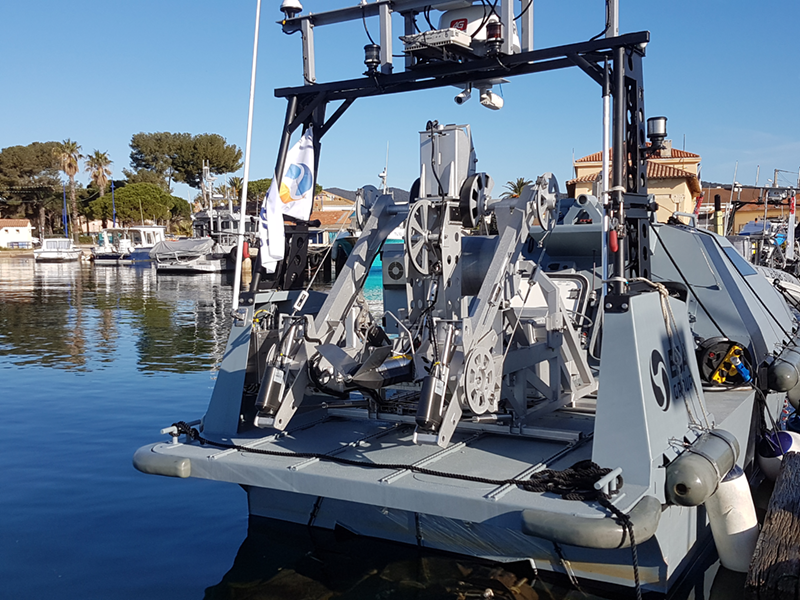 Inspector USV fitted with TOWSCA and USBL positioning system on the arm