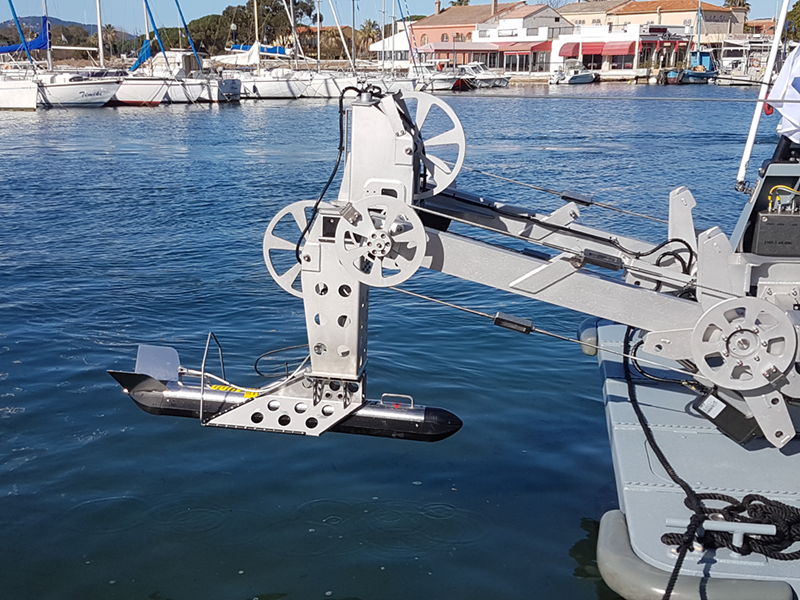 the towed sonar on its LARS (launch and recovery system)