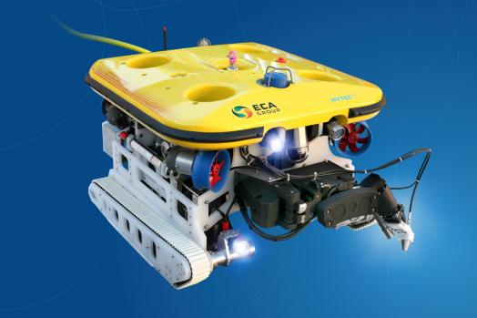 Eca Group ROVINGBAT Hybrid ROV crawler with 5-function electric manipulator arm with jetting for local cleaning