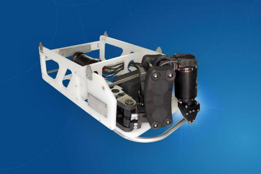 ECA Group ARM 5E-MICRO 5-function electric manipulator mounted on skid for ROV operations