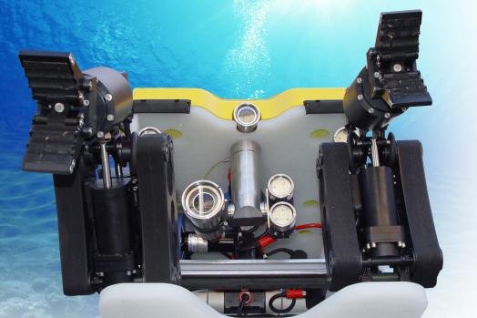 ECA Group ROV H300 MK2 with 2 electric 5-function manipulator arms mounted on skid