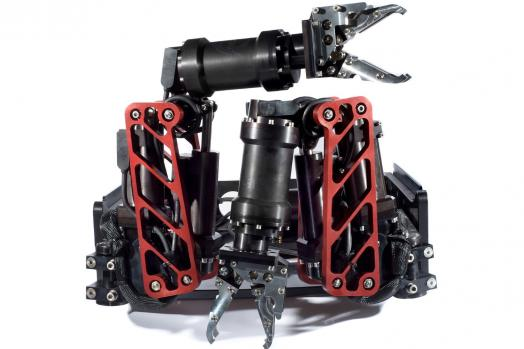 ECA Group ARM 5E-MINI 5-function electric manipulator mounted on skid for ROV operations