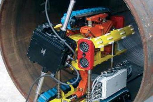 ECA-Group Ultimate Pipe Controller Explosion Proof remote controlled system for In-Pipe Inspection (IPI) of gas compressor and booster compressor stations (CS) pipe manifold